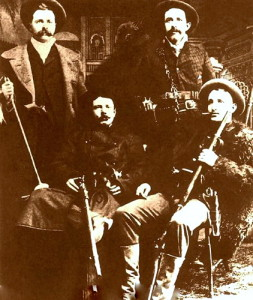 The James-Younger Gang (left to right): Cole Younger, Jesse James, Bob Younger, Frank James.