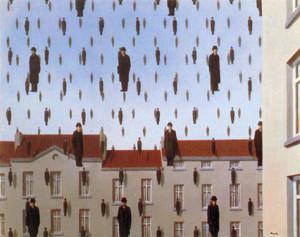 """Ren? Magritte, Golconde, 1953, Restored by Shimon D. Yanowitz, 2009  øðä îàâøéè, âåì÷åðã, 1953, øñèåøöéä ò""""é ùîòåï éðåáéõ, 2009"""