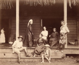 NPG x4630,Robert Louis Stevenson and family,by J. Davis