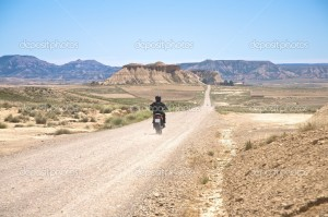 motorcycle at desert road