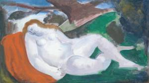 Sleeping Woman in a Landscape circa 1945-50 by Bernard Meninsky 1891-1950