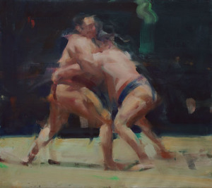 Wrestling Figures, oil on canvas 26 x 29.25 March 3, 2011