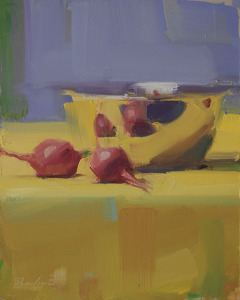 Two Radishes, oil on panel, 10 x 8, 6-2013