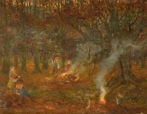 Cartlidge, George, 1868-1961; Burning Autumn Leaves