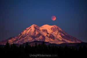 Super Blood Moon over Mount Rainier